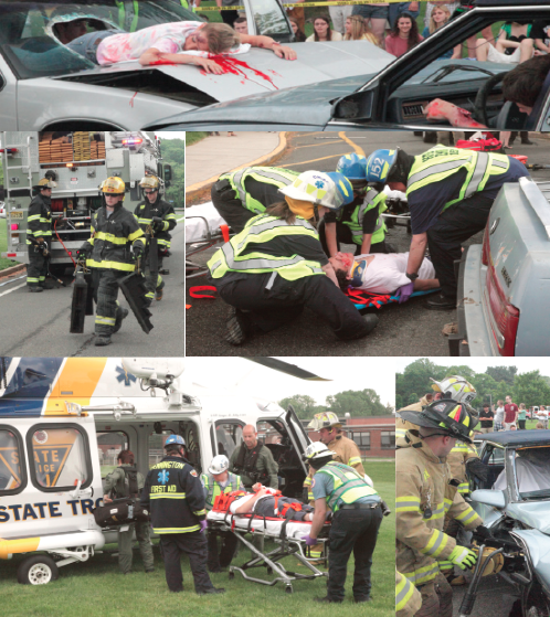 Students in roles as accident victims
